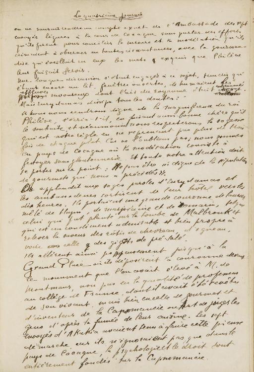APOLLINAIRE, Guillaume (1880-1918). La Quatrième journée. Manuscrit autographe signé, s.d. [vers 1918].