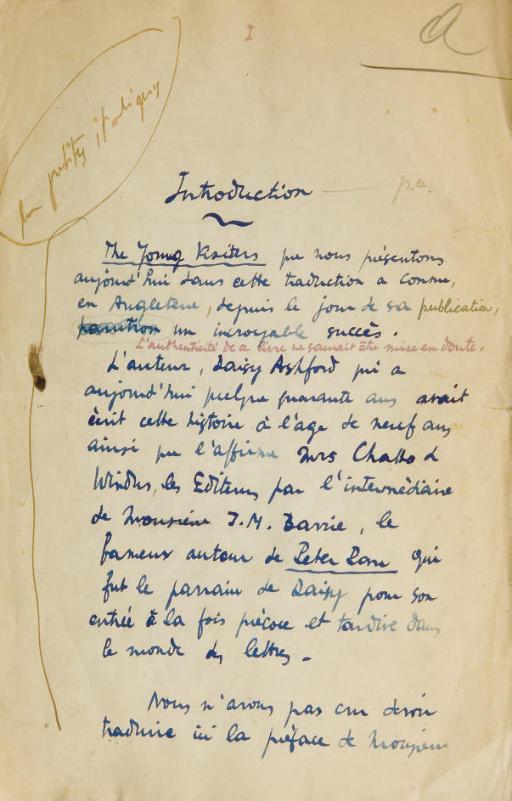 [SACHS] -- ASHFORD, Daisy (1881-1972). Les Jeunes visiteurs. Traduction autographe, complète, de Maurice Sachs, 142 feuillets (dont 3 pour l'introduction, et 139 feuillets chiffrés 1 à 138 dont 46bis) portant d'importantes corrections, ratures et bequets, le dernier feuillet est signé. Avec le placard contenant l'introduction de Jean Cocteau portant le cachet de l'éditeur daté de juin 1926. Paris, 1926.