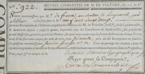 BEAUMARCHAIS, Pierre-Augustin Caron de (1732-1799). Pièce autographe signée. S.d.