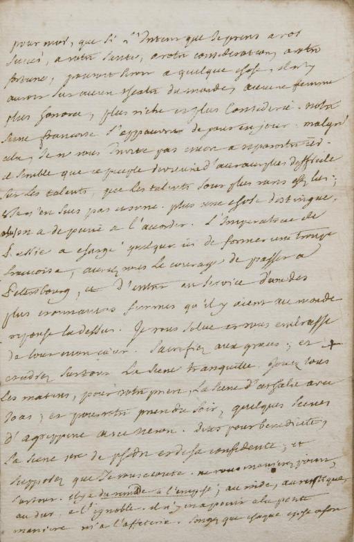 DIDEROT, Denis (1713-1784). Lettre autographe à Marie-Madeleine Jodin. [Janvier 1767]. 4 pages in-12 (168 x 109 mm) sur un feuillet replié, encre brune sur papier vergé. (Fente à la pliure sans perte de texte, marges un peu brunies.)