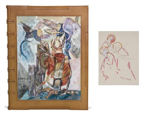 """JACOB, Max (1876-1944). """"Méditations sur le chemin de croix"""". Manuscrit autographe de 37 feuillets de texte (310 x 240 mm) et 47 dessins (255 x 204 mm), dont 16 signés et 6 rehaussés à la gouache ou à l'aquarelle. (Réparation en pied du premier feuillet de texte et à un dessin, rousseurs à deux dessins.)"""
