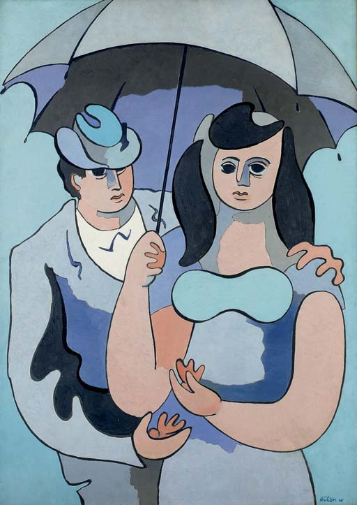 Sous un parapluie gris