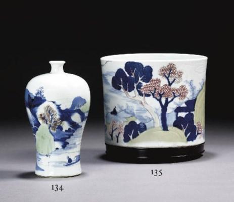 vase en porcelaine bleu blanc celadon et rouge de cuivre meiping chine dynastie qing. Black Bedroom Furniture Sets. Home Design Ideas