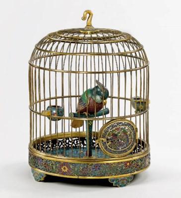 Rare cage a oiseau en bronze d for Cage a oiseau decorative