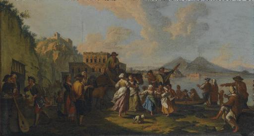 Tarantella a Palazzo Donn'Anna sullo sfondo del Vesuvio
