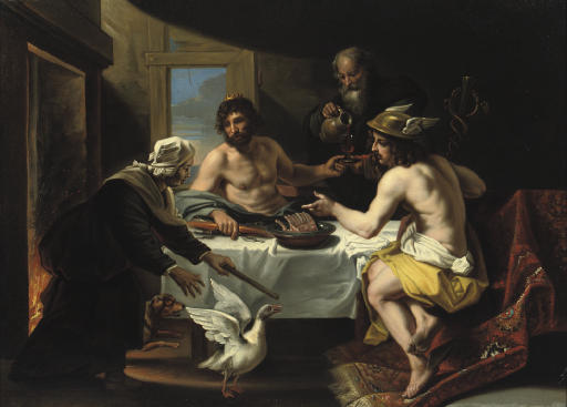 The peasants Philemon and Baucis visited by Jupiter and Mercurius