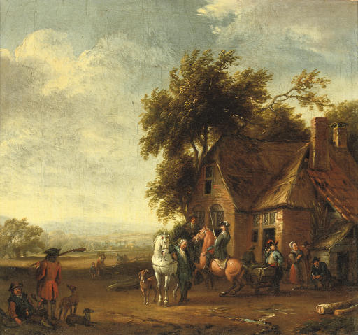 Soldiers resting outside an inn, a hilly landscape beyond