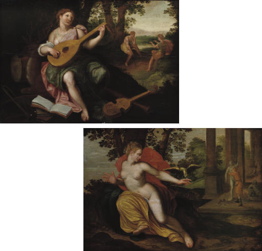 A woman playing the luit with other instruments at her feet: an Alegory of Hearing; and A woman with a parot on her left hand: an Alegory of Touch