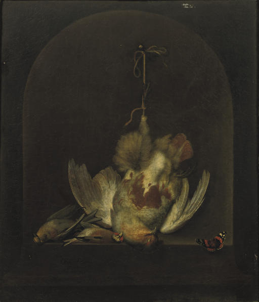 A dead partridge hanging from a nail with two other dead birds in a painted niche, a butterfly nearby
