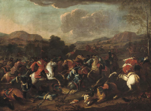 A cavalry skirmish in an extensive river landscape, said to be Prince Eugene de Savoy at the Battle of Blenheim, 1704