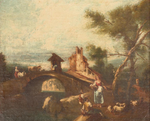 A river landscape with a herdsman resting near a bridge, a fortress beyond