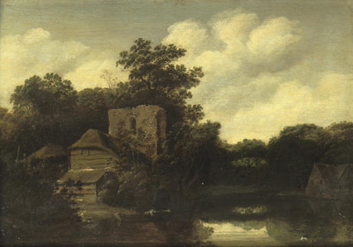 A wooded river landscape with a ruined tower and cottages