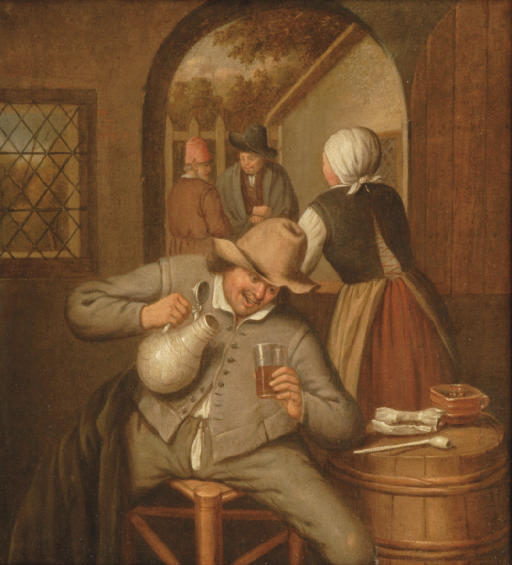 A man pouring himself a glass of beer in an interior, a woman conversing with other figures through a half-opened door beyond