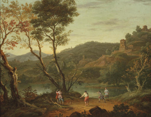 An Italianate landscape with 'boule' players on the banks of a lake, fortified towns in the distance