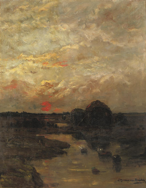 Zonsondergang: a rural landscape at sunset
