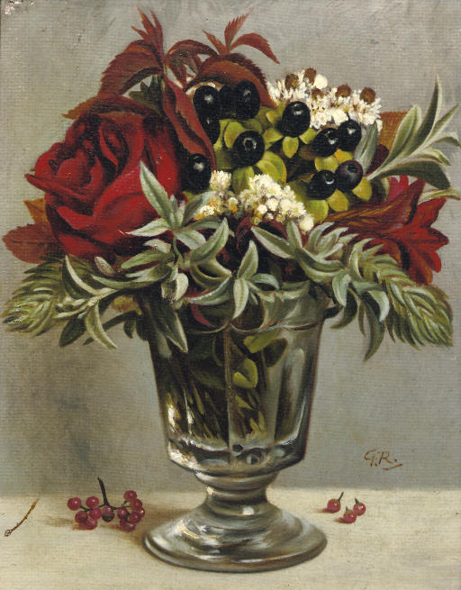 A still life with flowers in a glass