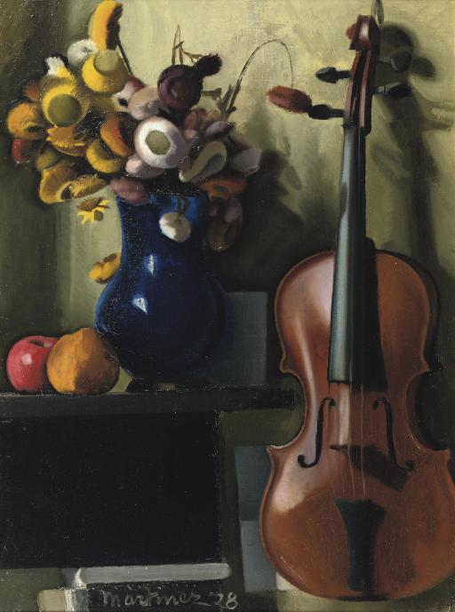 A still life with a violin