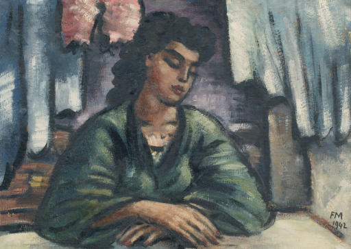 In thoughts: woman sitting at a table