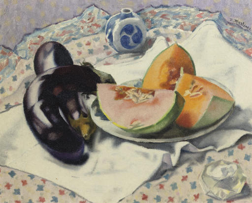 A still life with melons and aubergines