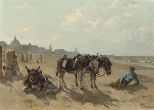 Donkeys on the beach of Scheveningen with the Kurhaus beyond