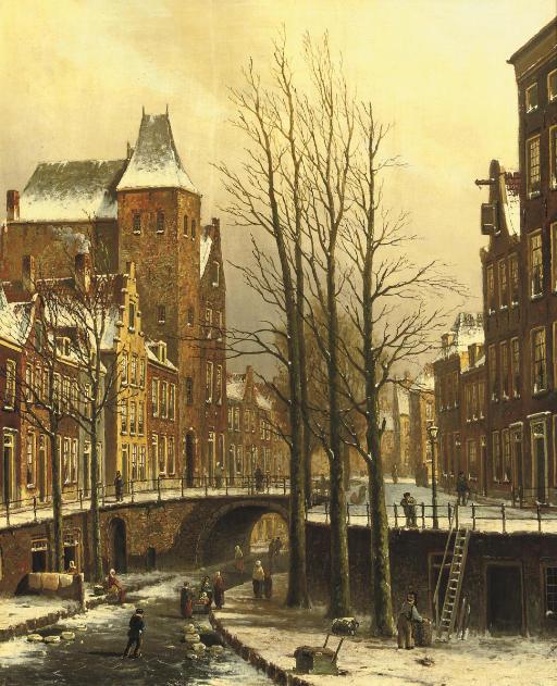 The fortified city castle Oudaen on the Oude Gracht in winter, Utrecht