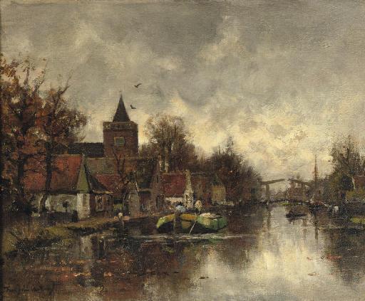 Shipping on the Vecht near the Sint Nicolaaskerk, Vreeland