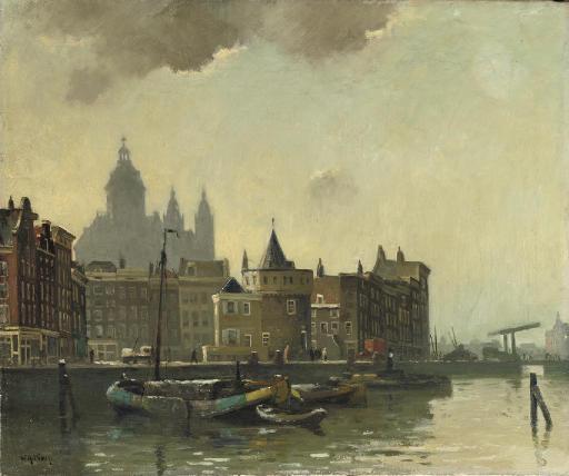 The Schreierstoren with the St. Nicolaas Kerk beyond, Amsterdam