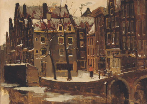 Grimburgwal in winter, Amsterdam