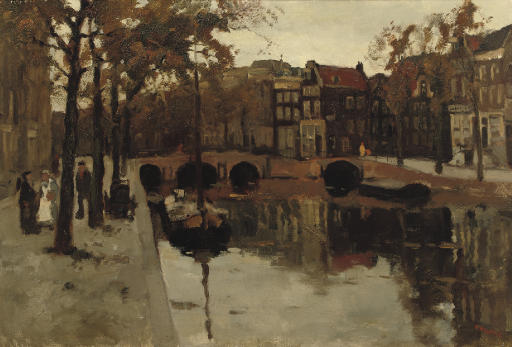 An Autumn day along a canal, Amsterdam