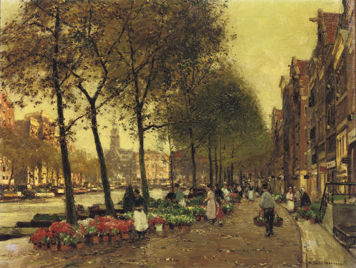 The flowermarket with the Munttoren, Amsterdam