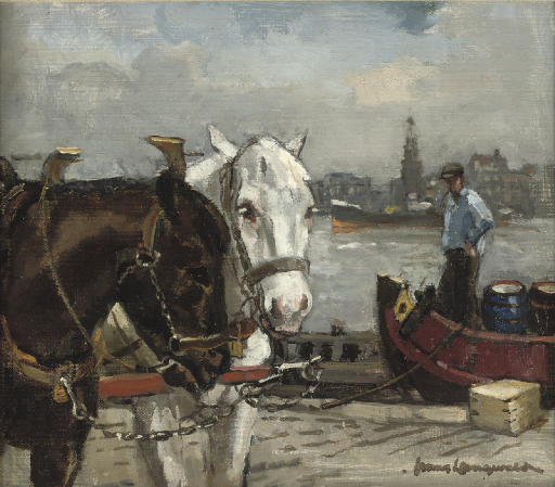 Horses on the quayside with the Haringspakkerstoren beyond, Amsterdam