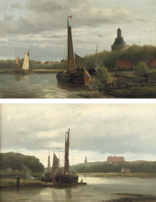 Boats near Enkhuizen with the Dromedaris in the background; and A riverlandscape at sunset with the Zuidertoren, Enkhuizen