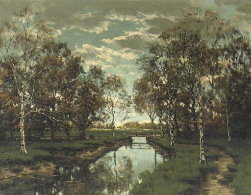 De Voordense Beek: a sunny autumn landscape with birches