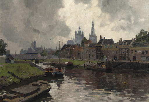 Barges in the Zuidwillemsvaart with the Sint Jan cathedral in the distance, Den Bosch