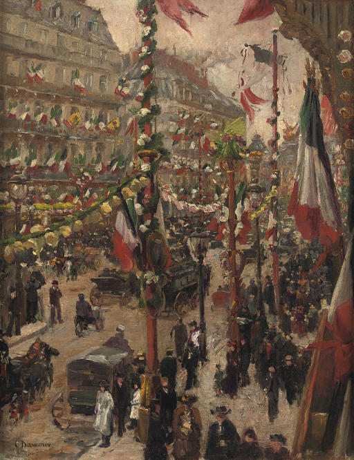 A festive day at Avenue de l'Opéra, Paris