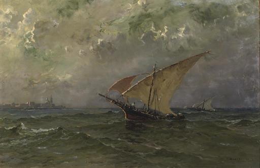 Sailing boats near the coast of Venice
