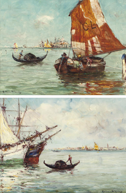 Sailing-vessels and gondolas, Venice