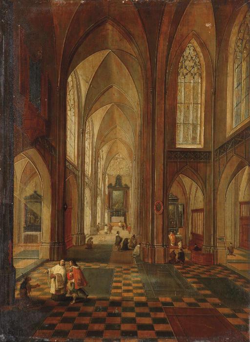 An interior of a Gothic church