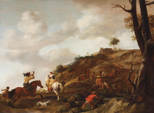 A hunting party in a dune landscape