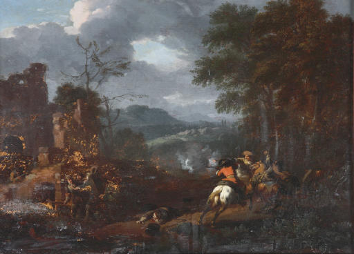 A cavalry skirmish in an extensive hilly landscape