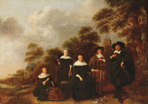 Family portrait in a wooded river landscape