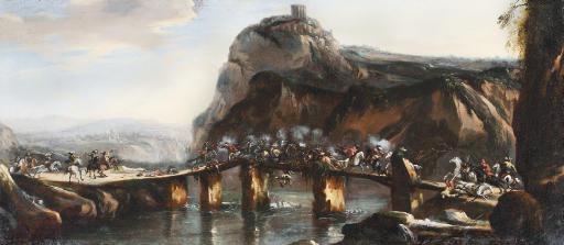 A cavalry skirmish on a bridge in a rocky river landscape