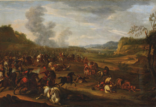 A Battle between Turks and Christians in a hilly landscape, said to be the Battle of Zenta, 11 September 1697