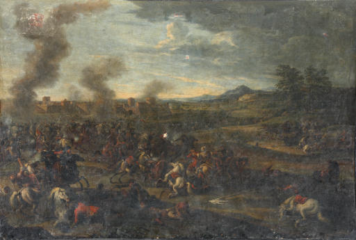 A cavalry skirmish with a walled town in the distance