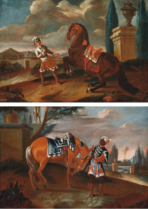 A servant attending to an elegant horse in a park landscape; and A servant training a horse in a park landscape