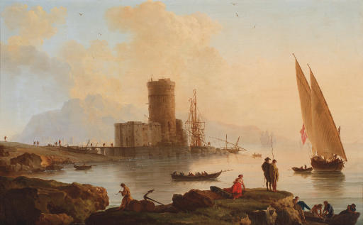 An Italianate landscape with a castle by the sea