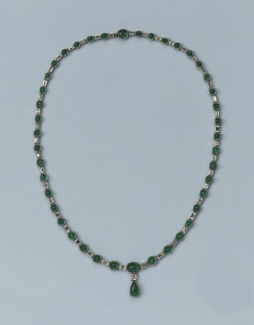 A FINE EMERALD AND DIAMOND NECKLACE, BY JANESICH