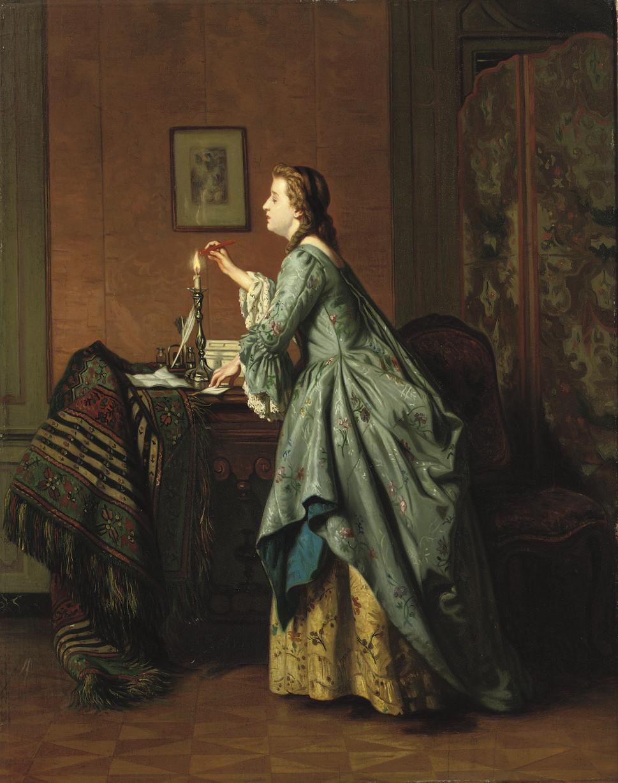 Jeune fille cachetant une lettre: sealing the loveletter