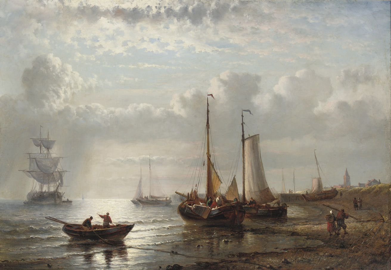 Fishing vessels moored by a coast