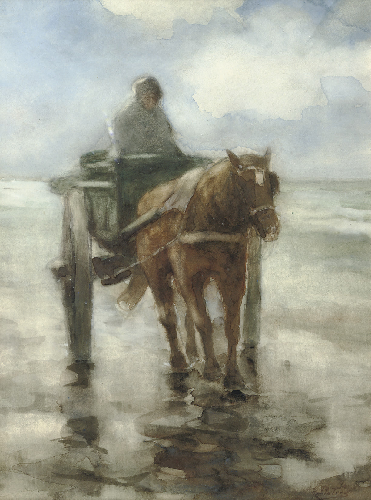 Shell fisher in the surf